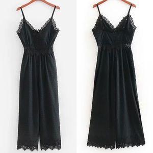 Lace Trim Cami Jumpsuit Jumper Black